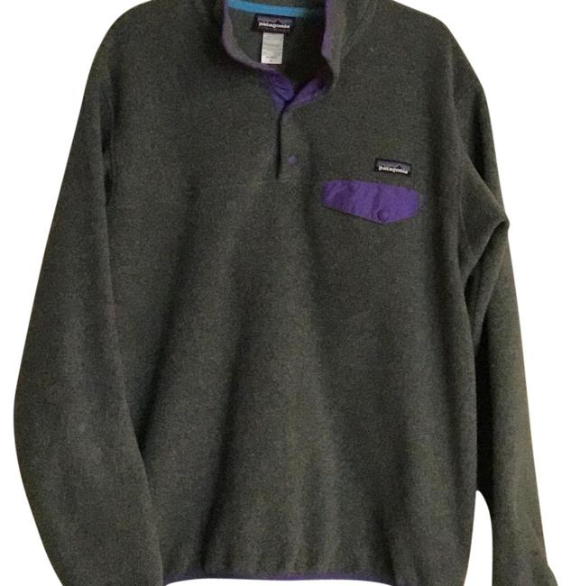 Item - Grey with Purple Trim Snap Top Pullover Activewear Size 14 (L)