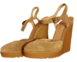 Chloé Suede Tan, Camel Wedges