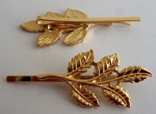 Two Olive Leaf Pin Hair Accessory