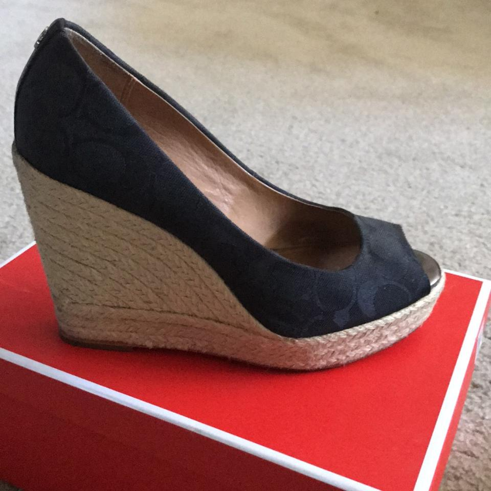 58b3e9c8640 Coach Black Milan Espadrille Peep-toe Wedges Size US 7.5 Regular (M, B) 79%  off retail