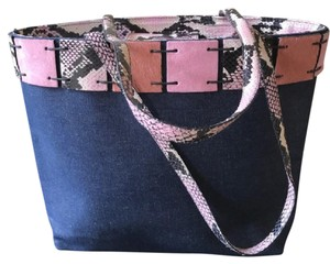 Berge Tote in Denim & Pink