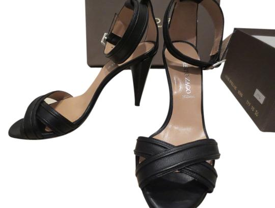 Alberto Zago High Heel Leather Italy Italian Sexy Buckle Ankle Strap Black Sandals