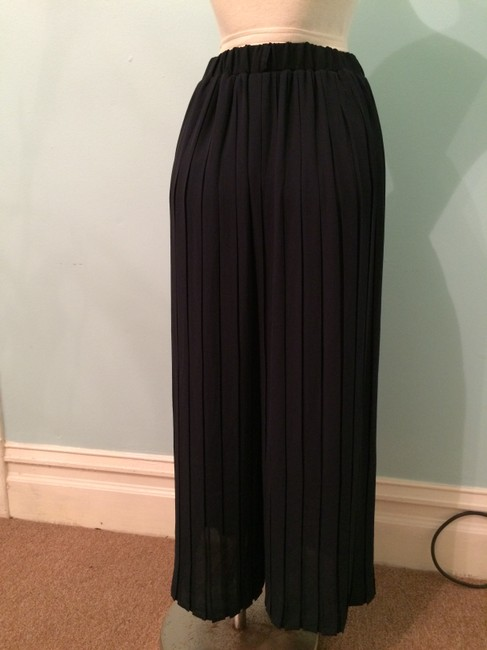 Heather Pleated Summer Current Fashion Chic Wide Leg Pants navy Image 3
