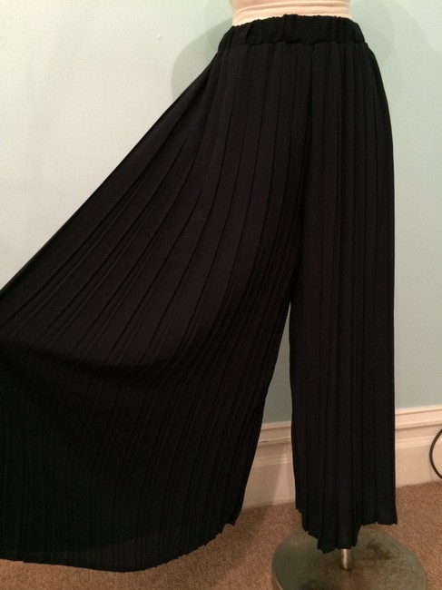 Heather Pleated Summer Current Fashion Chic Wide Leg Pants navy Image 4