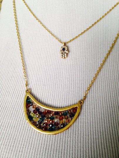 Lucky Brand 4-Ways To Wear, Multi-Color Crystal Gold-Tone Hand Necklace Image 1