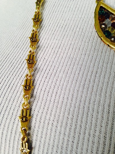 Lucky Brand 4-Ways To Wear, Multi-Color Crystal Gold-Tone Hand Necklace Image 3
