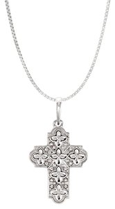 Marco B Ornate Floral Inspired religious good luck cross pendent 925