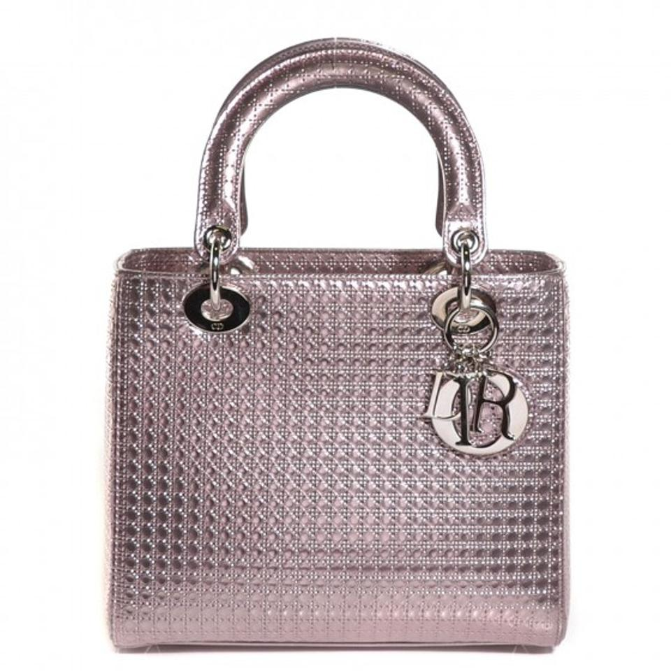 b5c241b53f18 Dior Lady Dior Rarely Used Perforated Purse W  Shoulder Strap Metallic Pink  Leather Tote