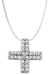 Marco B Cubic Zirconia Sterling Silver religious Cross Pendant quater carat CZ