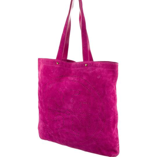 Tory Burch Perforated Suede Fuschia Tote in Rasberry Image 2