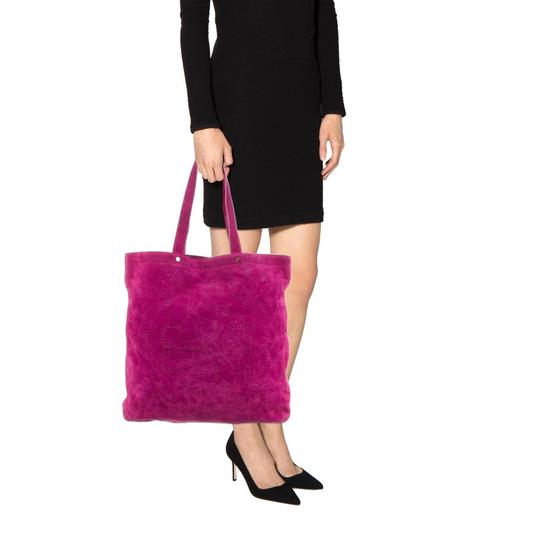 Tory Burch Perforated Suede Fuschia Tote in Rasberry Image 4