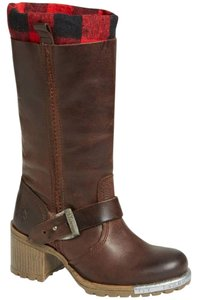FLY London Brown Steel Tipped Plaid Lining Boots