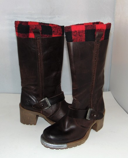 FLY London Brown Steel Tipped Plaid Lining Boots Image 3