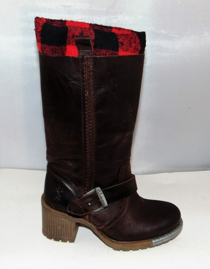 FLY London Brown Steel Tipped Plaid Lining Boots Image 4