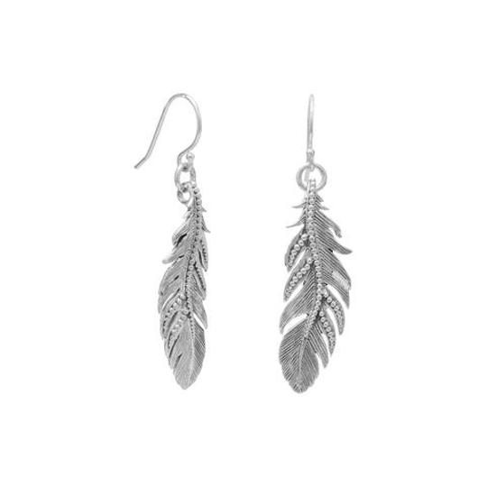 silver oxidized sterling feather french wire earrings