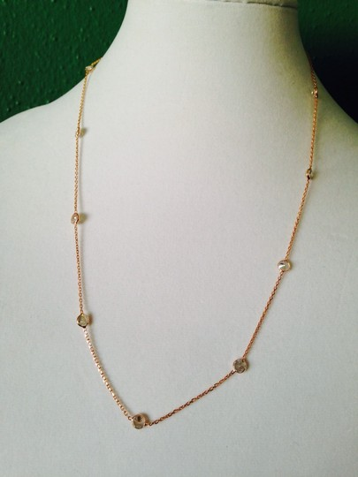 Alainn Faceted Bezel Station Rose Gold Over Sterling Silver Necklace Image 1