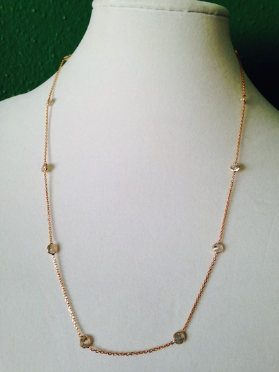 Alainn Faceted Bezel Station Rose Gold Over Sterling Silver Necklace Image 2