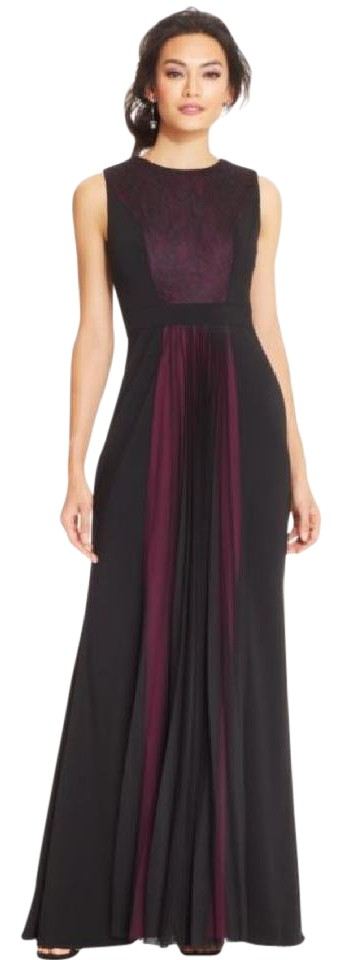 JS Collections Magenta & Black Contrast Lace Panel Pleat Long Formal ...
