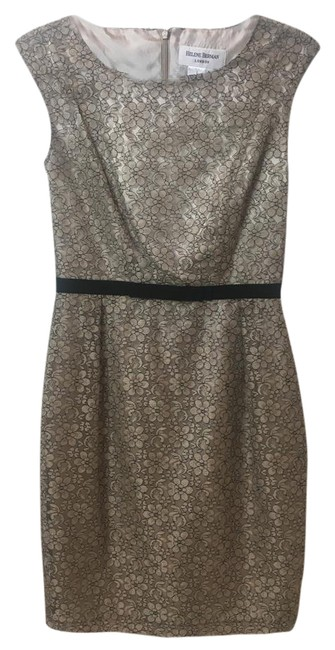 Item - Beige and Black Mid-length Cocktail Dress Size 2 (XS)