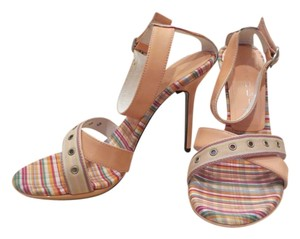 CASADEI Sexy Ankle Strap High Heel Peach & Gingham Sandals