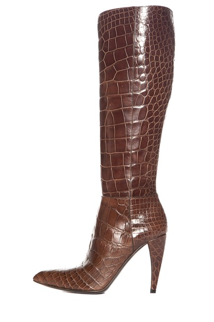 Item - Brown Crocodile Pointed-toe Knee-high Boots/Booties Size EU 37 (Approx. US 7) Narrow (Aa, N)