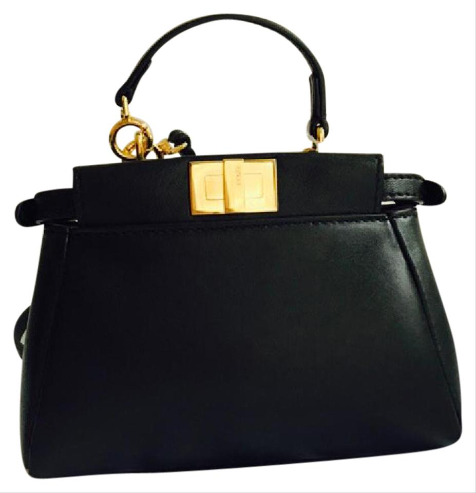 f0e10c2efb Fendi Peekaboo Micro Satchel Tote Black Leather Cross Body Bag - Tradesy
