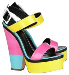 Giuseppe Zanotti Colorblock Patent Leather Neon Multi Wedges