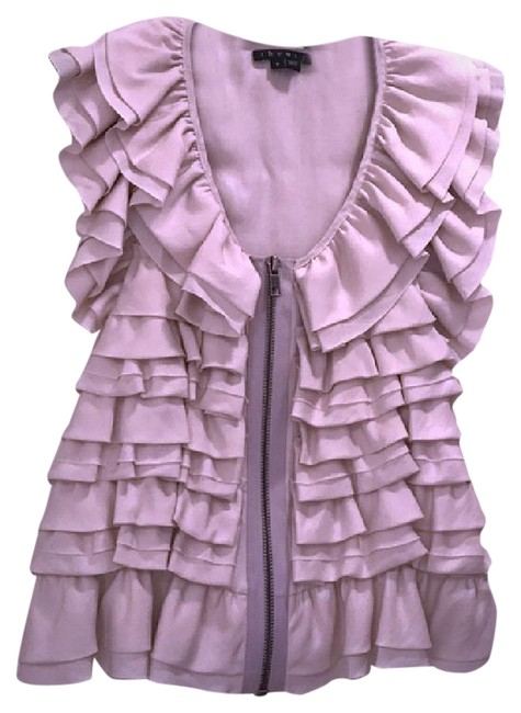 Theory Ruffles Silk Vest Top Ivory