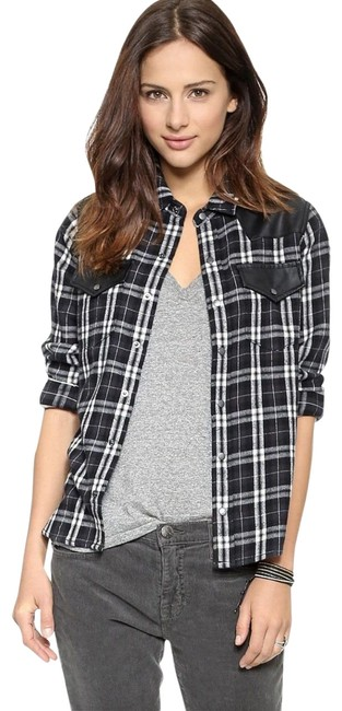 Preload https://img-static.tradesy.com/item/21985431/currentelliott-black-the-western-faux-leather-trimmed-plaid-flannel-shirt-m-button-down-top-size-8-m-0-5-650-650.jpg