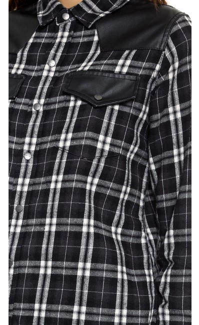 Current/Elliott Western Faux Leather Flannel Couture Trader Button Down Shirt black