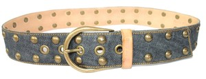 Miu Miu MIU MIU STUDDED DENIM LEATHER BELT