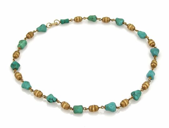 Tiffany & Co. Vintage 18k Yellow Gold Turquoise Nugget & Tube Link Nec