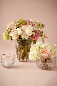 Bhldn Clear Hobnail And Gold Rimmed Votives And Vases