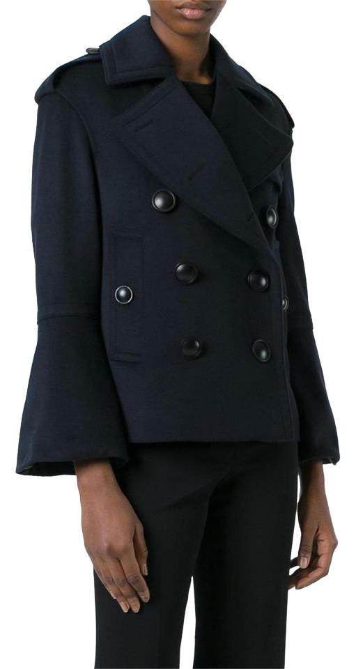 new york buy popular new collection Burberry Blue Oversized Buttons Short Women's Navy Pea-coat Coat Size 4 (S)  62% off retail