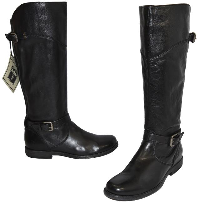 Frye Black Phillip Riding Tall Buckle Moto Leather (X5) Boots/Booties Size US 8.5 Regular (M, B) Frye Black Phillip Riding Tall Buckle Moto Leather (X5) Boots/Booties Size US 8.5 Regular (M, B) Image 1