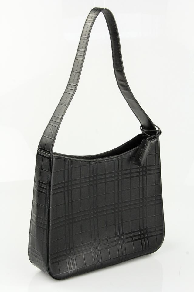 bf970c1a9b07 Burberry Check Embossed Black Leather Shoulder Bag - Tradesy