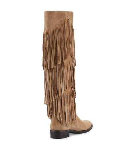 Sam Edelman Fringe Suede Riding Leather Tan Boots