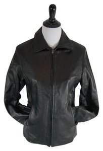 R&O by Reilly Olmes Leather Classic Fitted Zipper Black Jacket