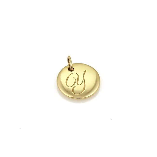 "Item - Yellow Gold Notes Letter ""Y"" Round Pendant Charm"