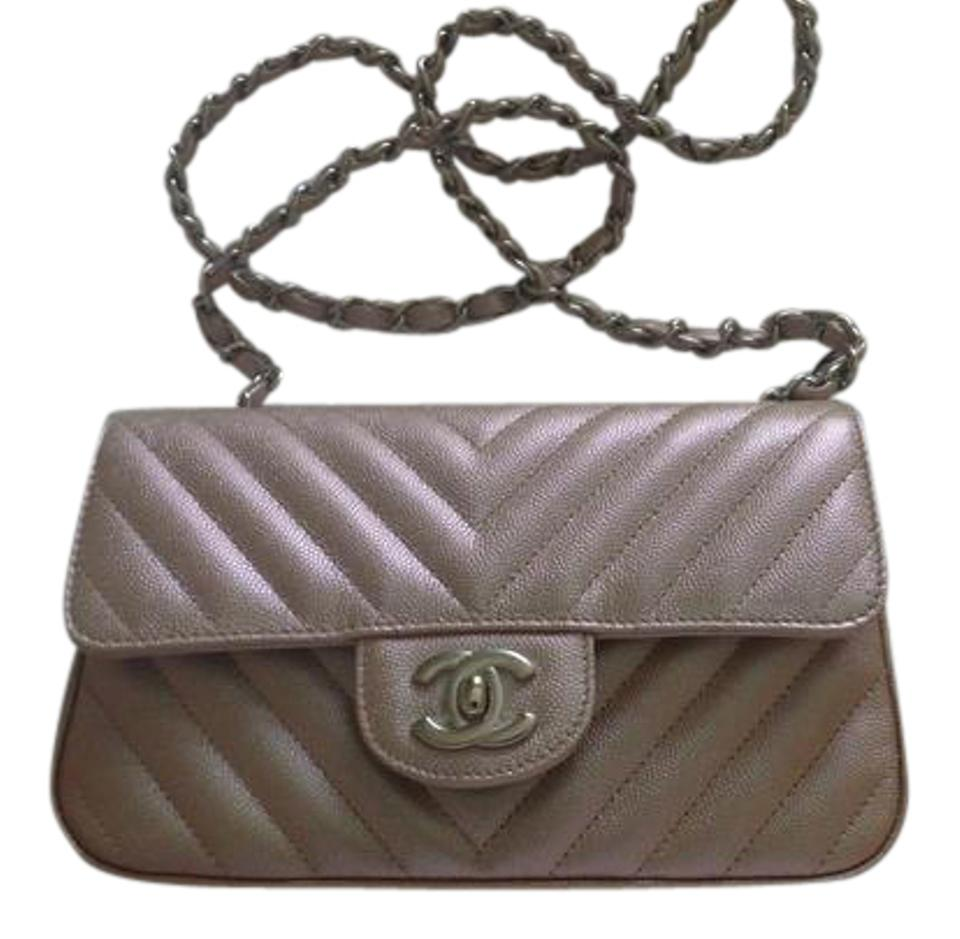 da36eda6da0661 Chanel Classic Flap Mini Chevron Rosegold Caviar Cross Body Bag ...