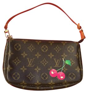 Louis Vuitton Tote in dark brown; tan LV logos; bright red and green cherry design on front side