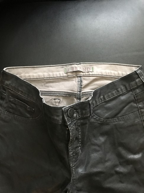 J Brand Vintage Faux Leather Long Length Straight Leg Jeans-Coated