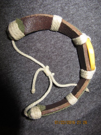 Other New Unique Boho Leather and Cord Handcrafted Peace Sign Bracelet