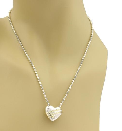 Tiffany & Co. 1994 Sterling 18k Yellow Gold Cupid's Heart & Bead Chain Necklace