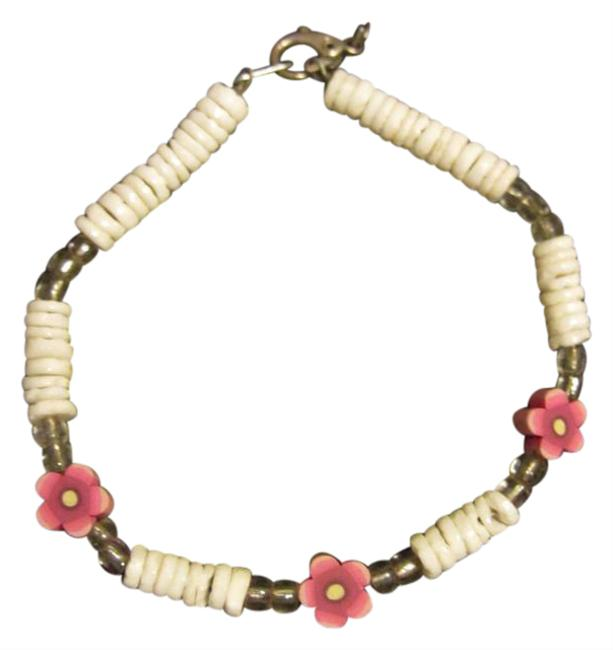 White & Pink Unique Shell Beads Flower Bracelet White & Pink Unique Shell Beads Flower Bracelet Image 1