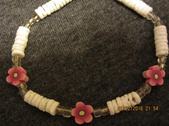 Unknown Unique Shell Beads & Pink Flower Bracelet