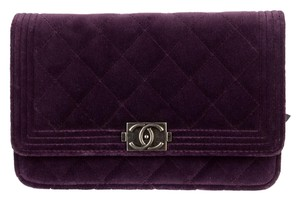 Chanel Velvet Boy Wallet Chain Woc Cross Body Bag