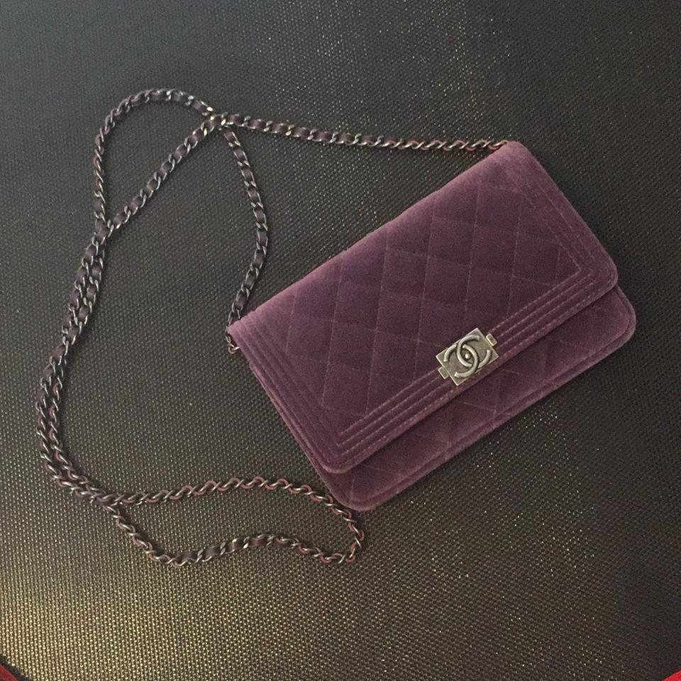 82ab9df8564e Chanel Wallet on Chain Boy Woc Purple Velvet Cross Body Bag - Tradesy
