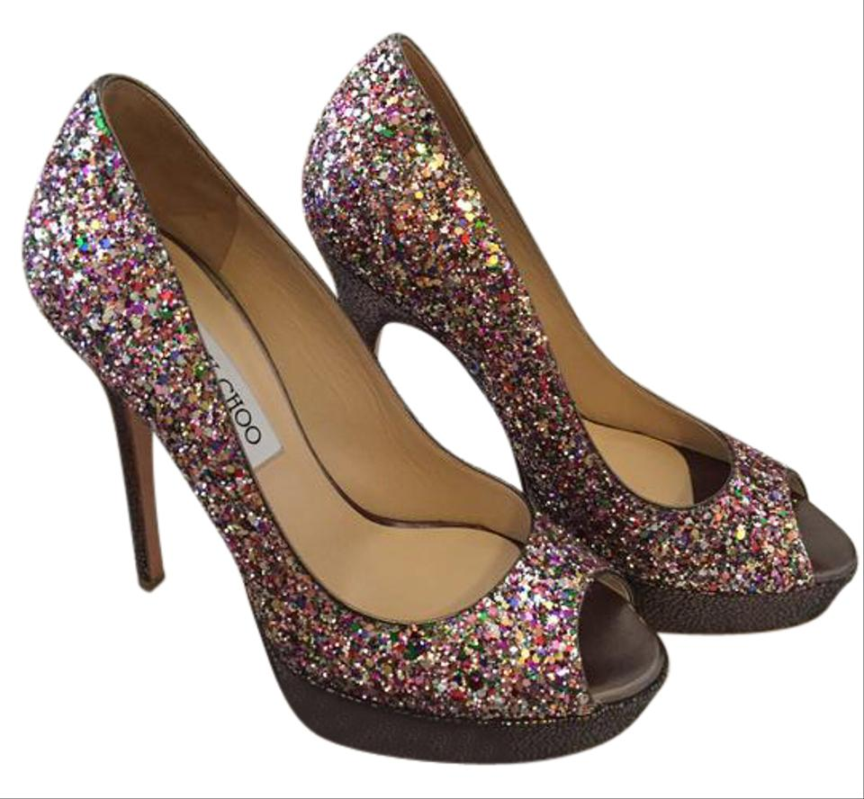 78922ecc4799 Jimmy Choo Multi Sequin Open Toe Sparkly Pumps Formal Shoes Size US ...