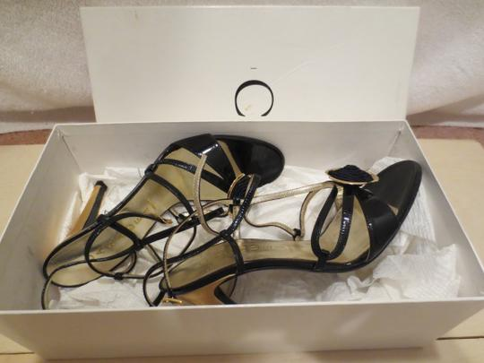 Casadei Rosette Heel High Two Tone Black & Gold Formal Image 1